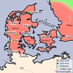 デンマーク ヴァイキング Map of Viking Denmark with Hedeby at the southern edge.