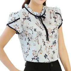Summer Women Chiffon Flower Print Blusas Feminina Short Sleeve Stand Collar Bow Blouse And Shirts Female Plus Size Casual Tops Blusas Women Tops Blouses Ladies Chiffon Long Sleeve Floral Shirt Women Slim Camisas Mujer Plus Size Chemise Femme White Black G Plus Size Casual, Casual Tops, Camisa Feminina Plus Size, Sewing Blouses, Work Attire, Mode Style, Shirt Blouses, Blouse Designs, Chiffon Tops