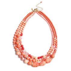 Three Row Coral Beaded Necklace
