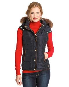 Joules Womens Fitted Vest with Fur Trimmed Hood, Marine Navy.                     With a high quality faux fur trimmed detachable hood this vest is one of our most luxurious winter warmers.  With a gently curved hem and ruching to the waist it flatters while keeping you warm as toast.