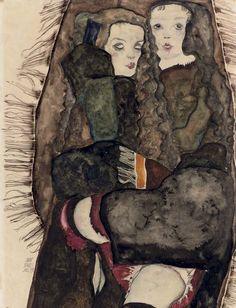Egon Schiele.    Zwei Mädchen auf einer Fransendecke, 1911