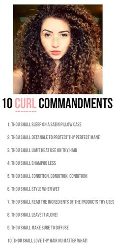 The 10 Curl Commandments for perfect, curly hair! hair memes The 10 Curl Commandments Curly Hair Tips, Curly Hair Care, Natural Hair Tips, Natural Hair Journey, Natural Curls, Curly Hair Styles, Natural Hair Styles, Quotes About Curly Hair, Curly Hair Routine