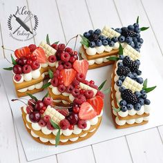 Image may contain: fruit and food Number Birthday Cakes, Number Cakes, Mini Fruit Tarts, Cake Lettering, Beautiful Birthday Cakes, Cake Shapes, Caking It Up, Cake & Co, Cake Decorating Tips