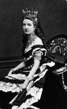 Margherita of Savoia wearing court dress
