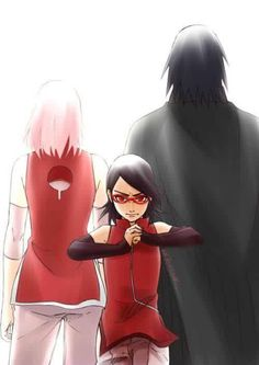 Sakura e Sasuke e sua filha Sarada.