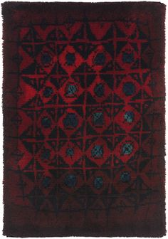 Wool 'Palokärki' (Black Woodpecker) Rug for Suomen Käsityön…