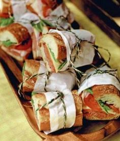 Wedding Grub Ideas. This would be much fancier than boring sandwiches for evening buffet.
