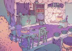 herb gatherers home by saradivjak on DeviantArt Aesthetic Drawing, Aesthetic Art, Aesthetic Anime, Pretty Art, Cute Art, Manga Anime, Bg Design, Cartoon Background, Art Hoe