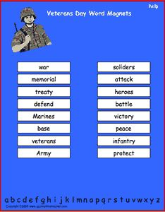 Flag Day vocabulary words, interactive word magnet game ...