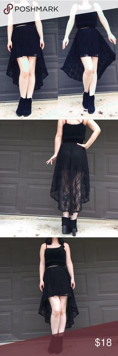 High low lace black maxi skirt Witchy vibes!!!! Black lace high low goth gothic fishtail skirt. High waisted mini skirt. Preowned. Size small. Non refundable . Sold as is Skirts High Low