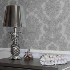 Arthouse Vicenza Damask Wallpaper - Grey - http://godecorating.co.uk/arthouse-vicenza-damask-wallpaper-grey/
