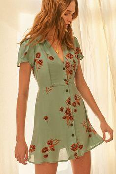 Slide View: 1: UO Mallory Button-Down Mini Dress