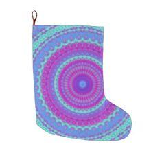 Vivid Mandala Large Christmas Stocking - christmas stockings merry xmas cyo family gifts presents
