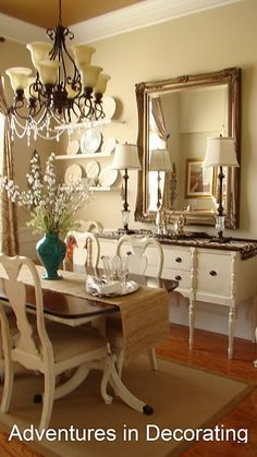 She PAINTED all of her dining room furniture.  Brave soul, it looks great!  My room and furniture are about the same.