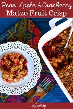Matzo Crisp with Pear, Apple and Cranberries - A simple and divine holiday dessert made with matzo meal, autumn fruits and spices. | ToriAvey.com #fruitcrisp #matzo #kosher #hanukkah #thanksgiving #sukkot #pear #apple #cranberries #matzomeal #TorisKitchen Sukkot Recipes, Jewish Recipes, Great Recipes, Cranberry Holiday Recipes, Holiday Desserts, Vegan Desserts, Dessert Recipes, Matzo Meal, Kosher Recipes