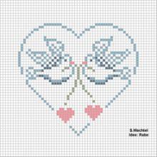 Doves in Heart Free Cross Stitch Pattern Chart Cross Stitch Heart, Cross Stitch Cards, Cross Stitch Samplers, Cross Stitch Animals, Cross Stitching, Cross Stitch Embroidery, Embroidery Patterns, Wedding Cross Stitch Patterns, Cross Stitch Designs