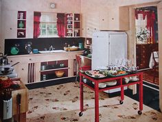 Armstrong ad Better Homes and Gardens - April 1943 1930s Kitchen, Old Kitchen, Vintage Kitchen, Kitchen Stuff, 1940s Home, Retro Home, Kitchen Design, Kitchen Decor, Kitchen Ideas