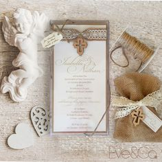 Sweet rustic style First Holy Communion invitations and bomboniere for these very special twins who celebrated their big day last Sunday