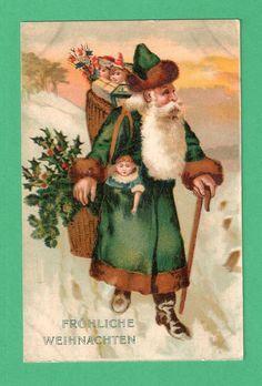 Vintage Postcard A Merry Christamas Card Stanta Claus with Toys 1989 Vintage Santas, Vintage Toys, Green Santa, Christmas Baskets, Christmas And New Year, Merry Christmas, Christmas Ideas, Green Coat, Antique Christmas