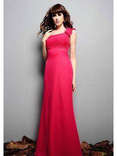 Sheath One-Shoulder Empire Floor-Length Chiffon Bridesmaid Dress Colored Wedding  Dresses 8385908f2e83