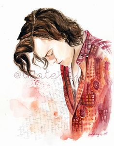 Harry Styles Watercolour Portrait with Infinity by WaterLyrics
