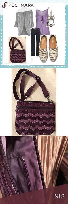 "Crossbody Bag Thirty-One Purple Chevron Crossbody Bag  Zippered Pocket outside / open pocket inside / adjustable strap   Size L 10"" X W 8"" Thirty One Bags Crossbody Bags"