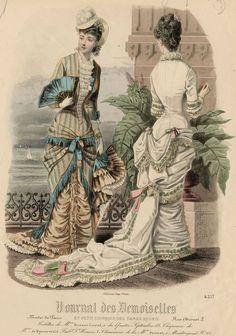 Journal des Demoiselles 1879 1870s Fashion, Edwardian Fashion, Vintage Fashion, Historical Costume, Historical Clothing, Vintage Gowns, Vintage Outfits, Gravure Illustration, Magazine Mode