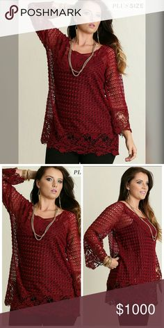 "***COMING SOON *** Crimson Delight Top!! Crochet Tunic Top.  Cotton Blend.  Model is 5'11"" and wearing an XL. Tops"