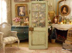 Porte vitrée de campagne française, Miniature en bois, Vert Provence vieilli, Accessoire de décoration pour maison de poupée, échelle 1/12 by AtelierMiniature on Etsy