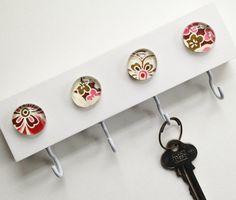 Mauve Mod Flowers NEW  Key Hook Key Rack Key Holder by tannerglass, $22.00