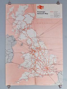 This is by far one of the most gorgeous maps I've ever seen and I truly mean it. The map is clear, concise and has a subdued, easy-going color palette which makes it easy to look at. I'd also compl. National Rail Map, Map Of Britain, British Rail, British Isles, Information Graphics, Blog Images, Custom Posters, Grafik Design, Cartography