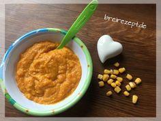 Karottenbrei mit Mais Getreide und Milch zum Abend
