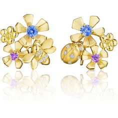 Mimi So Wonderland Pow Orchid Cluster Clip-On Earrings (1.800.155 HUF) found on Polyvore featuring jewelry, earrings, mimi so jewelry, bee earrings, mimi so, clip earrings and cluster jewelry