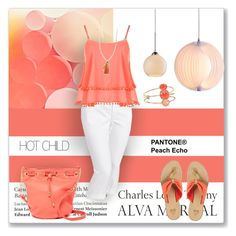 """""""peach echo for summer"""" by sheryl-lee ❤ liked on Polyvore featuring Tiffany & Co., Old Navy, WearAll, Deux Lux, Kate Spade, Zuo, ELK Lighting and Chan Luu"""