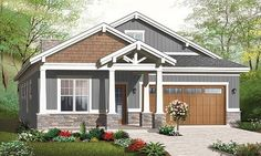 Craftsman details make this one-story home design a favorite in any neighborhood. A bonus area above the garage and foyer is easily accessed via fold-down stairs.