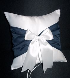Use coupon code PINITFREESHIP for FREE shipping! Marine Navy Blue White or Ivory  Wedding Ring Bearer Pillow by Jessicasdaydream