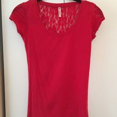 Red top with lace on the back Gently used Splash Tops Tees - Short Sleeve