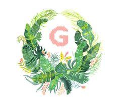 Hand Drawn Custom Botanical Crest Monogram by KarliStrohscheinArt