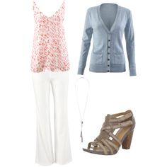 Feeling Springy by kirsten-dolan on Polyvore featuring polyvore, fashion, style, Clarks, Wallis and CAbi  White Wide Leg Jean with Flirty Cami and Billi Cardigan