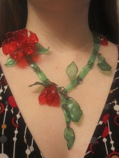 Recycled Plastic Rose Necklace. $17,00, via Etsy.