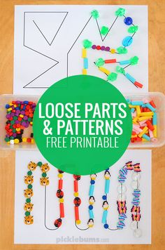 Grab our free printable pattern pages, grab some loose parts ad work on fine motor skills, patterning, creativity and more!
