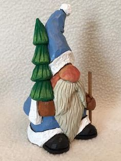 Hand Carved Christmas Santa Claus With Tree Wood by RWKWoodcarving
