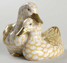 HerendPair of Ducks, Butterscotch Fishnet