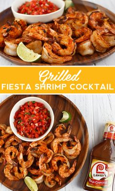 This grilled shrimp cocktail recipe brings bold flavor to your summer cookout. Instead of cocktail sauce, serve the shrimp with a chunky salsa for the perfect party appetizer. Fish Dishes, Seafood Dishes, Seafood Recipes, Dinner Recipes, Cocktail Recipes, Meat Recipes, Chicken Recipes, Recipies, Grilling Recipes