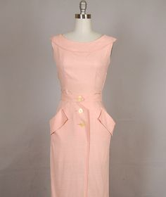 vintage 1950s dress wiggle linen carnation pink by NodtoModvintage, $160.00