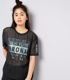 Teens Black Mesh Marble Metallic Bronx Print T-Shirt | New Look