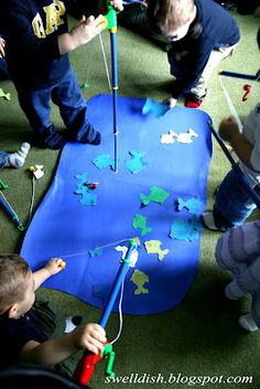 Fun Under The Sea Party Game. Fish with paperclips and fishing rod with magnet. A piece of bamboo might work for a simple rod