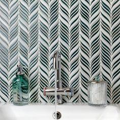 Ivy Hill Tile Oracle Alula Ceramic Mosaic Tile in Deep Emerald Ceramic Mosaic Tile, Glazed Ceramic, Mosaic Glass, Cleaning Ceramic Tiles, Cleaning Tile Floors, Tropical Tile, Splashback Tiles, Backsplash Tile