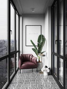 Interior Balcony, Apartment Balcony Decorating, Interior Design Living Room, Living Room Designs, Living Room Trends, Apartment Interior Design, Luxury Interior Design, Small Balcony Design, Small Balcony Decor