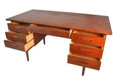 Danish Modern Free Standing Teak Desk on Chairish.com